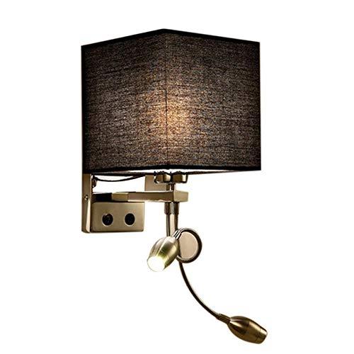 Moderne led-wandlamp, wandlamp, verlicht, gang, slaapkamer, nachtkastje, hotel, villa, licht, geel