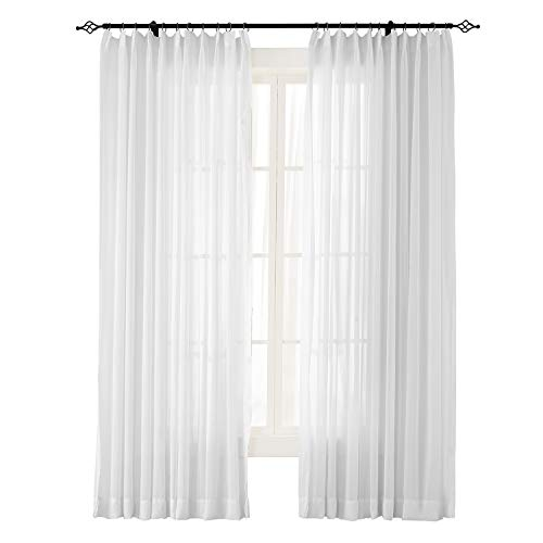 """ChadMade Indoor Outdoor Solid Sheer Curtain Pinch Pleated White 100"""" W X 84"""" L Wide Opulent Voile Drapes (1 Panel)"""