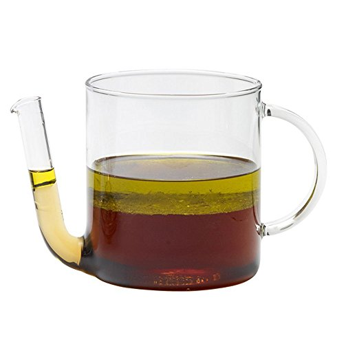 Fetttrenner Fetttrennkanne Fettabscheider, hitzebeständiges Borosilikatglas, ca. 0.8 l