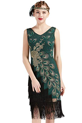 Coucoland 1920s Kleid Damen Pfau Flapper Charleston Kleid V Ausschnitt Great Gatsby Motto Party Damen Fasching Kostüm Kleid (Dunkelgrün, XL)