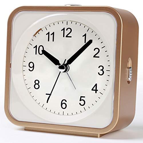 LX-Love clock Musique Réveil Chambre à Coucher Muet Veilleuse Étudiant Enfants Lève-toi Petit Réveil (Color : Gold)