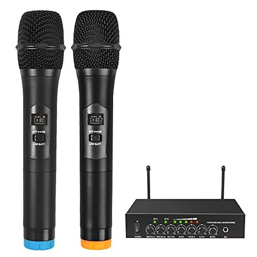 LiNKFOR Sistema di Microfono Professionale Doppio Canale UHF Microfoni Wireless Bluetooth con Indicatore del Volume Audio Wireless Professionale Mic per Canto Matrimonio Altoparlanti Amplificatori