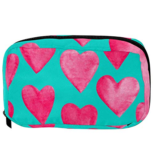 TIZORAX Cosmetic Bags Rose Heart Pattern Handy Toiletry Travel Bag Organizer Makeup Pouch for Women Girls