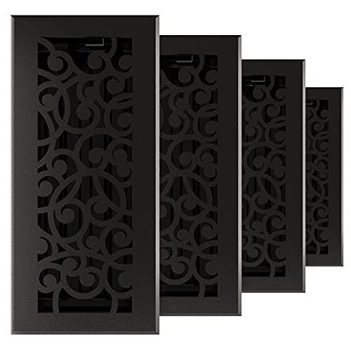 Imperial RG3374 Cast Iron Wonderland Decorative Floor Register, 4 x 10-Inch, Matte Black, 4 Pack