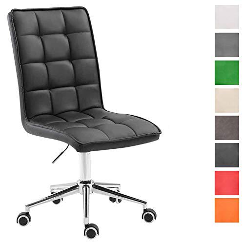 Arbeitshocker Peking V2 mit Kunstlederbezug | Schreibtischstuhl mit Leichtlaufrollen | Höhenverstellbarer Drehstuhl, Farbe:schwarz