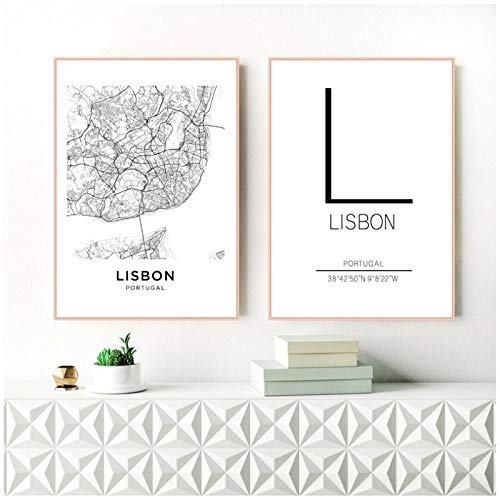 Zhaoyangeng Lissabon City Map Poster Art Decor Canvas Prints Zwart en Wit Canvas Schilderen Muur Foto's Modern Home Decor- 50X70Cmx2 Geen Frame