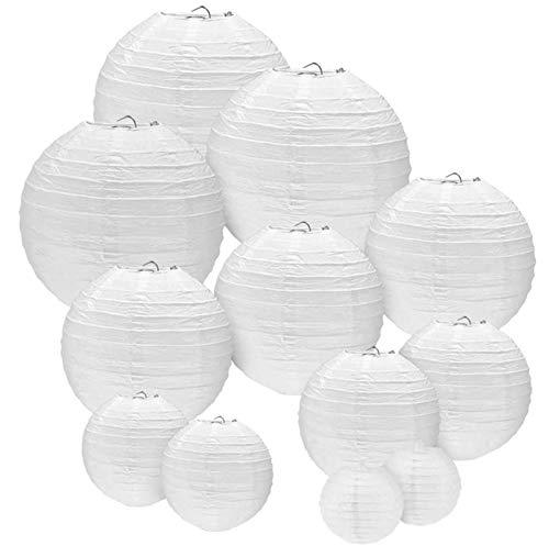 ERKOON Papier Laterne Lampions Rund Lampenschirm Hochtzeit Dekoration Papierlaterne für Hochtzeit Kirche Garten Party Dekoration - (12er Packung) (Verschiedene Größen) (Weiß)