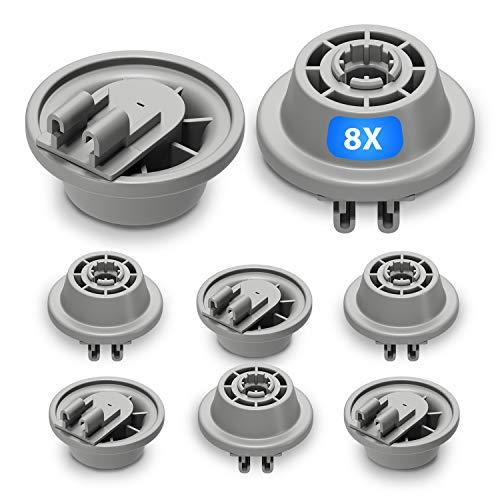 Juego de 8 ruedas para cesta de lavaplatos de repuesto para Bosch 00611475 Siemens 611475 Küppersbusch 436718, ruedas con soporte de rodillos para cesta inferior de lavavajillas