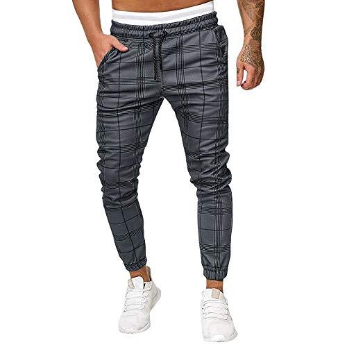 MMUJERY Pantalones Largos Hombre pantalón Casual a Cuadros de Chandal de Trabajo para Hombres Moda Pantalones de poliéster Deportivo Jogging Fitness Slim fit Trekking Pantalon