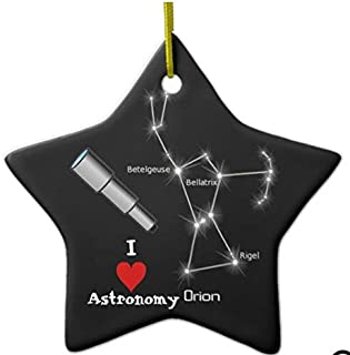 I Love Astronomy Novelty Christmas Ornaments Star Ceramic Porcelain Pendents Hanging Christmas Tree Decorations Gifts Ornaments