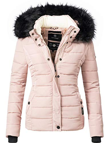 Navahoo Damen Winter Jacke Steppjacke mit abnehmbarem Kunstfell Miamor Rosa Gr. S