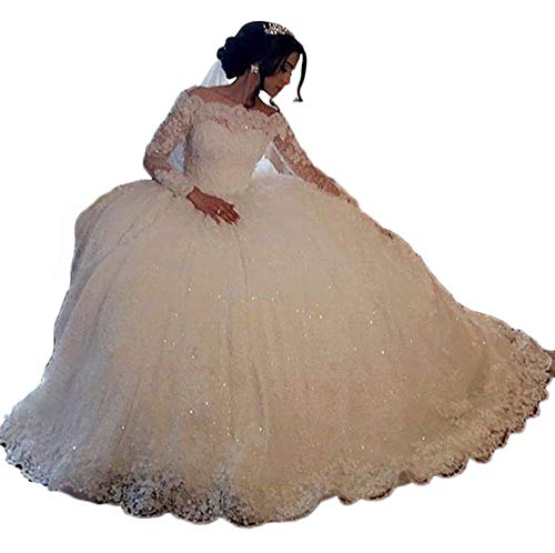 RYANTH Women's Off Shoulder Wedding Dress for Bride 2019 Long Sleeves Lace Appliques Sequins Ball Gown with Train RWD61 Ivory 4