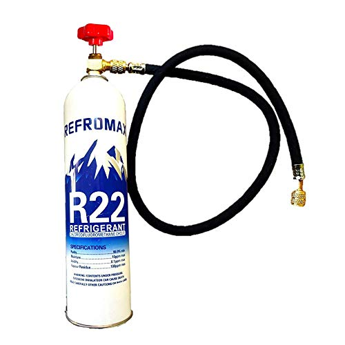 R22 Gas Can with Valve and Hose Pipe Combo Refrigerant Net Weight 1 kg for Air Conditioner/Gas Weight 800 Gram by Jagdish Refrigeration
