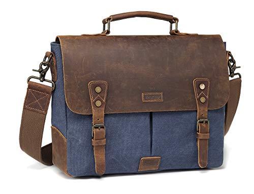 Messenger Tas, Vaschy Vintage Laptop Schoudertas Echt Lederen Canvas Crossbody Tas Zakelijke Satchel met Afneembare Band