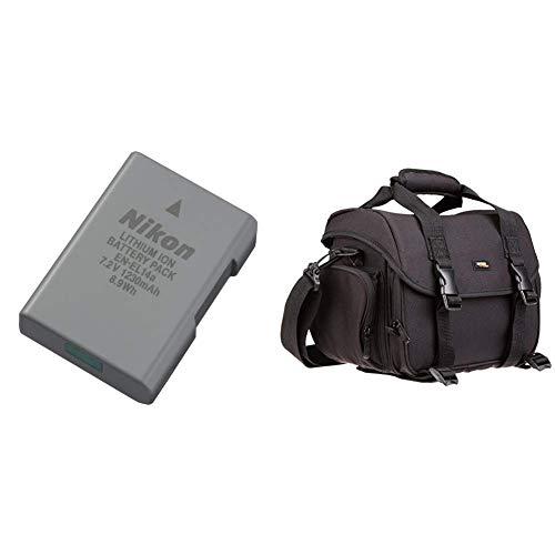 Nikon Lithium-Ionen Akku VFB11402 & AmazonBasics - Große L Umhängetasche für SLR-Kamera und Zubehör, schwarz mit orange Innenausstattung
