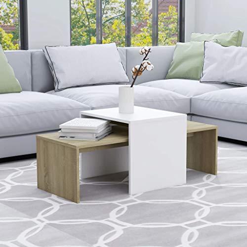 vidaXL Tavolini da caffè Bianco e Rovere Sonoma 100x48x40cm Truciolato