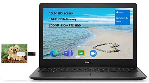 2020 Newest Dell Inspiron 15.6 inch Laptop, 10th Gen Intel Core i5-1035G1, 16GB RAM, 256GB SSD + 1TB HDD, HDMI, WiFi, Intel UHD Graphics, Bluetooth, Online Class Win 10 Home | 32GB Tela USB Card