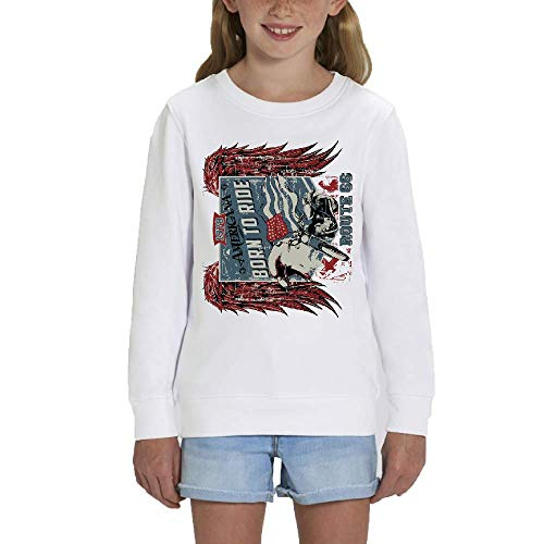 LookMyKase Sweat - Manche Longue - Col Rond - Born to Ride - Fille - Blanc - 5-6ans