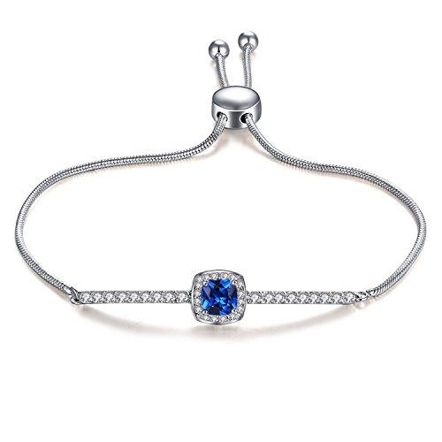 Vibrille Adjustable White Gold Plated Created Swarovski Bracelet Blue Sapphire Jewelry Bolo Bracelet for Women, 9 Inch