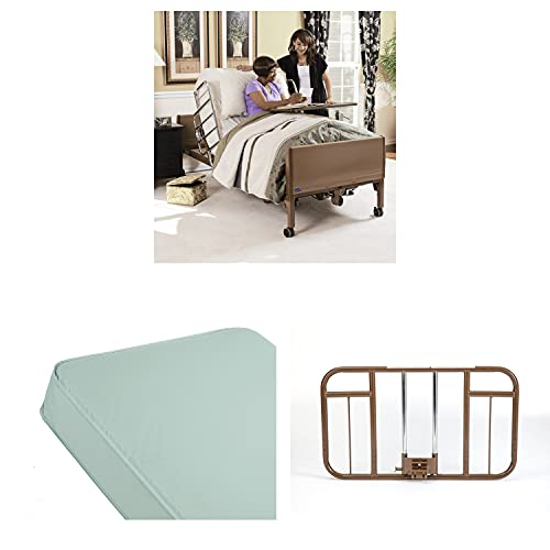 Invacare Homecare Bed Bundle | Innerspring Mattress & Half Length Bed Rails | Full-Electric Hospital Bed for Home Use
