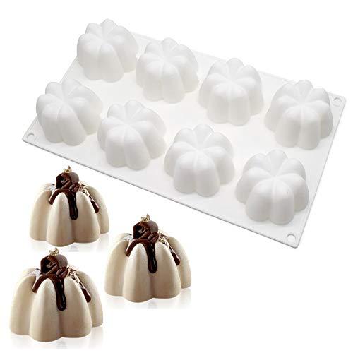xiaoshenlu Moule de gâteau de Mousse de Silicone Moule 3D Bakeware DIY, 8 Trous en Forme de Petite Fleur