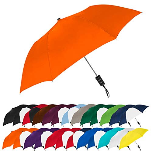 "STROMBERGBRAND UMBRELLAS Spectrum Popular Style 15"" Automatic Open Umbrella Light Weight Travel Folding Umbrella for Men and Women, (Orange)"