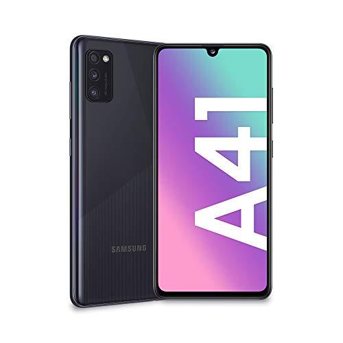 "SAMSUNG Galaxy A41, Smartphone, Pantalla 6,1"" Super AMOLED, 3 cámaras traseras, 64 GB ampliables, 4 GB de RAM, batería de 3500 mAh, 4G, Dual SIM, Android 10, 151 g,Color Negro"