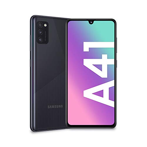 "Samsung Galaxy A41, Smartphone, Display 6.1"" Super AMOLED, 3 Fotocamere Posteriori, 64GB Espandibili, RAM 4 GB, Batteria 3500 mAh, 4G, Dual Sim, Android 10, 152 g, [Versione Italiana], Black"
