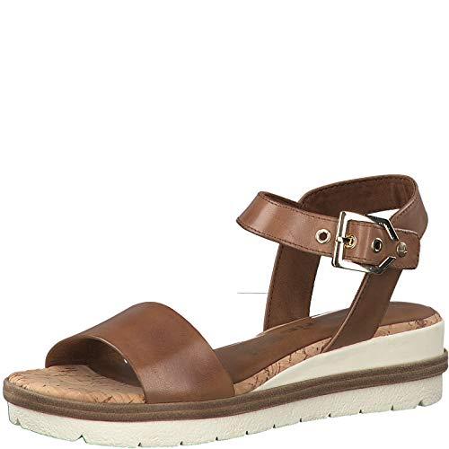 Tamaris Mujer Sandalias de Vestir 28222-24, señora Sandalias de cuña, Zapatos del Verano,cómodo,Plana,Nut,41 EU / 7.5 UK