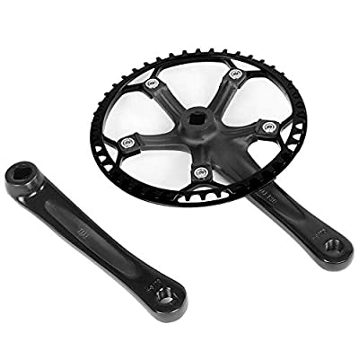 Bicycle Crankset, Single Speed Crankset Mountain Bike Aluminum Alloy Hollow Integral Mountain Bike Crankset Arm Speed Fixed Gear,Easy to Modify Single Crank Set(Black)