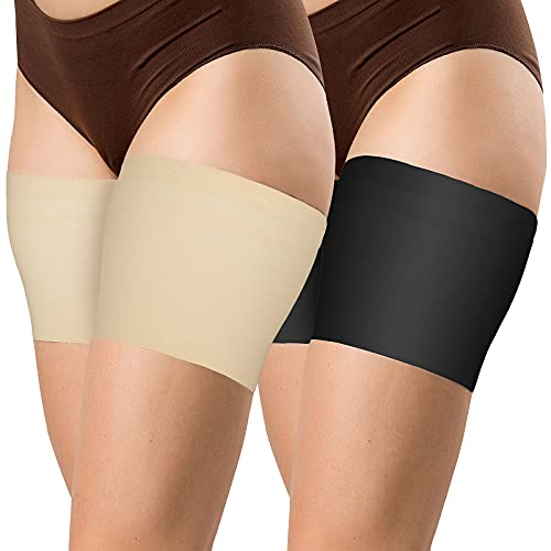 MOOKLIN ROAM 4pcs Sexy Bandas Elásticas Antirrozaduras Muslo - Previene Las Rozaduras Bandas Antideslizantes de Silicona Invisible Elastic Thigh Stockings (2 Pares)