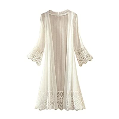 Women Fashion Lace Splicing Kimono Cardigan Flare Sleeve Beach Cover Ups Long Blouse Tops (White, L) by