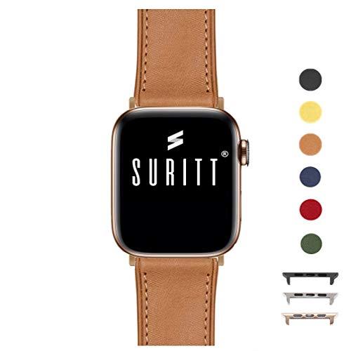 Suritt Cinturino per Apple Watch in Pelle Rio (6 Colori Disponibili). 3 Colori di Fibbia e Adattatore da Scegliere (Nero - Argento - Oro) (Series 1, 2, 3 e 4). (42mm - 44mm, Saddle Brown/Gold)