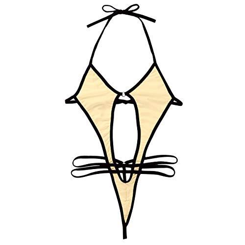 LULIJP Catsuit Mujeres One Pieces Swimsuits Mini Micro Bikini Set Tomar Sol Twitching Halter Cuello Auto-Corbata Tanga de Corte Alto (Color : Nude, Size : Gratis)