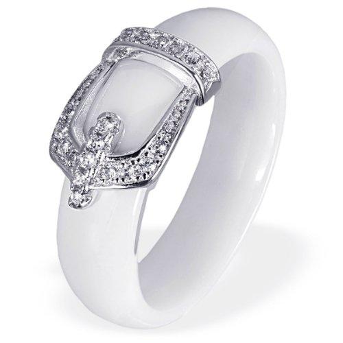 Goldmaid Damen-Ring 925 Sterling Silber Porzellan Zirkonia weiß Gr.52 (16.6) Fo R6729S52 Schmuck