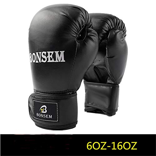 Allen Boxhandschuhe 6 Unzen - 12 Unzen Boxsack Kampf Muay Thai Grappling Kampf Mitts Martial Arts Training Kickbox Punching-Handschuh, geeignet für Kinder und Erwachsene,Schwarz,10oz