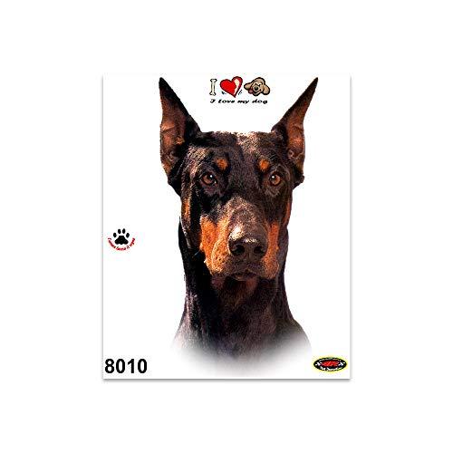 Quattroerre 8010 Aufkleber Hund Dobermann auf Rand Tabella