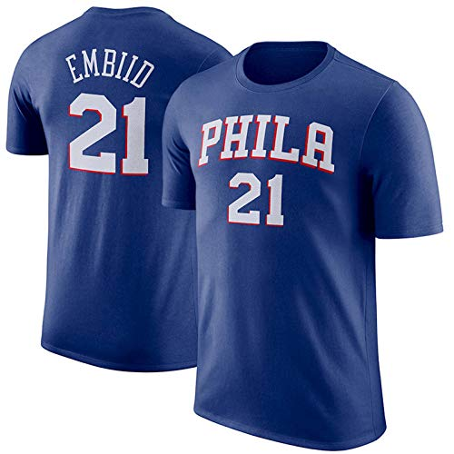 SHENXIAOMING 2021 T-Shirt Camiseta De Baloncesto para Hombre, Philadelphia 76Ers #21 Joel Embiid Camiseta De Baloncesto De Manga Corta, Lavable A Máquina, No Se Decolora, Apto para Verano,Azul,S