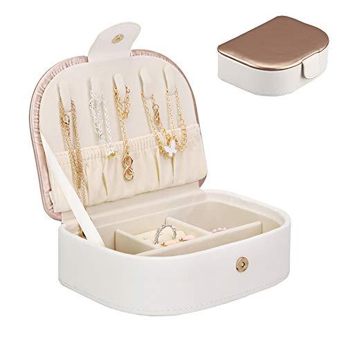 OHHCO Caja de Joyas de Viaje Joyería, joyería portátil Organizador para niñas y Regalo para Mujer para Anillos Pendientes Collares Pulseras Caja de Regalo Madre Madre,Oro