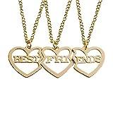 DGSDFGAH Collar De Mujer Golden Hollow Love Heart Set Collar con Colgante De Mejor Amigo Sra. BFF Forever Good Friend Key Tai Chi Animal Heart Collar Colgante Regalo De Cumpleaños