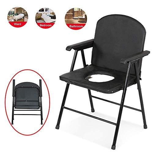 Z-SEAT Commode Chair Hochleistungsstahl, klappbarer Toilettensitz, behindertengerechte Nachttoilette, älterer Badesessel - rutschfeste Handläufe und Kissen