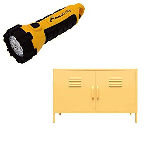 Toucan City LED Flashlight and Novogratz Cache Yellow 2-Door Metal Locker Accent Cabinet 4012814COM
