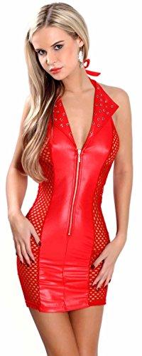 Miss Noir Damen MiniKleid im Wetlook Clubwear Partykleid Mesh-Einsätze V-Ausschnitt Lederlook (XXXL, Rot) L118D-RD