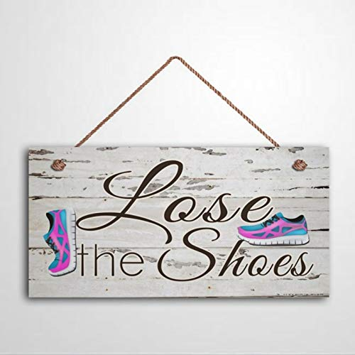 Letrero de madera colgante Shabby Chic para colgar zapatos de tenis rosa y aguamarina para quitar zapatos de la puerta, decoración de pared para interiores y exteriores para invitados