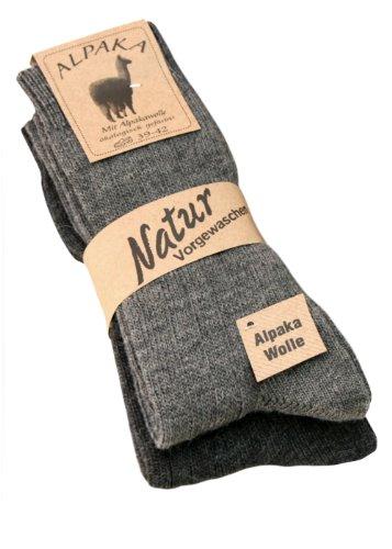 Alpaka Socken mit Alpaka Wolle weich & warm, 2 Paar, (35-38, grau/anthrazyt)