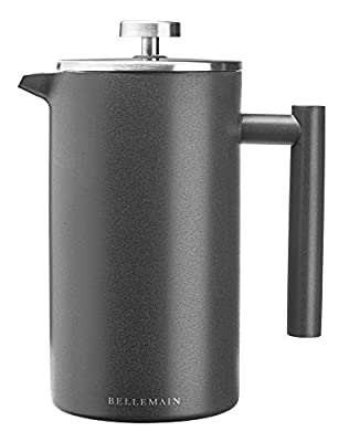 Bellemain French Press - Extra Filters Included - Coffee and Tea Maker - Stainless Steel- (Grey, 35 oz)