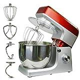 Mezclador De Alimentos Mezclador De Masa, 7L Cake Mixer Chef Machine Mezclador De Masa Para Pan Con Batidor, Gancho, Batidor (Rojo)