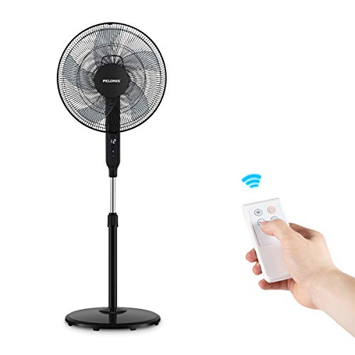 PELONIS PFS40D6ABB DC Motor Ultra Quiet 16 Inch Pedestal Sleeping &Baby, High Energy Efficiency Standing Fan Speed, 12-Hour Timer, Remote Control, and Adjustable Heights, Black