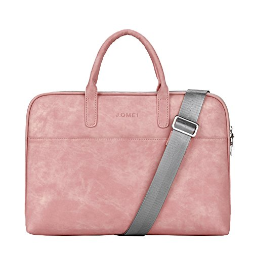 Laptop Shoulder Bag Sleeve Briefcase Case for 13-14 Inch Laptops/MacBook/Notebook/Chromebook with PU Leather Fabric and Carrying Strap Pink