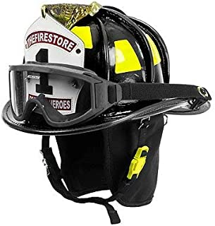 Cairns Black N6A Houston Leather Fire Helmet - Black, Medium, NFPA Bourkes
